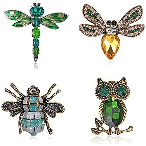 LUOYEPIAO Kit de Broche de Insectos Animal, Broche de Cristal de Taladro de Agua de Estilo Retro, Pin de Pecho de Animal