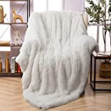 Faux Fur Throw Blanket, Super Soft Lightweight Shaggy Fuzzy Blanket Warm Cozy Plush Fluffy Decorative Blanket for Couch,Bed, Chair(50'x60', Beige)