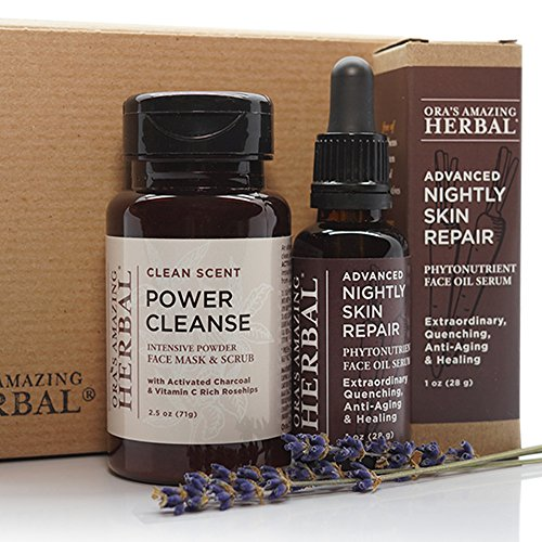 Natural Face Skincare Gift Set, Full Size, Power Cleanse Face Mask, Scrub and Exfoliant Cleanser with Activated Charcoal, Clean Scent, and Advanced Nightly Skin Repair Face Moisturizer Serum Oil