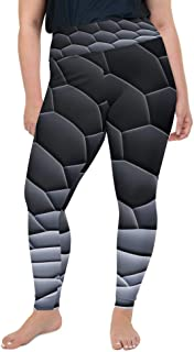 Schmitz Women Plus Size Leggings Printed Pants with Elastic Waist Band for Yoga, Sportswear, Loungewear, Leisurewear, Black