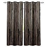 VBUEFM Cortinas Opacas Cortinas Patrón de Puerta de Madera Vintage Negro marrón Cortinas Estampadas Térmicas Aislantes térmicas insonorizantes protección UV para Oficina Decorativa 85x200cm x2