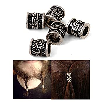 Viking Beard Beads for Hair Retro Antique Silver Viking Beads Charms Findings for Necklace Bracelet Jewelry Making for Braid Hair Beard Beads About 6.5 mm Inner Diameter Antique Silver   C99
