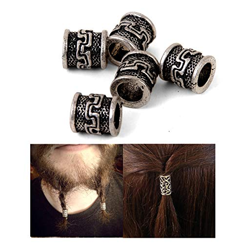 Viking Beard Beads for Hair Retro Antique Silver Viking Beads Charms Findings for Necklace Bracelet Jewelry Making for Braid Hair Beard Beads About 6.5 mm Inner Diameter(Antique Silver) (C99)