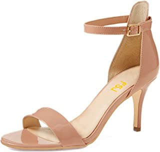 Women Comfy Open Toe Summer Sandals Ankle Strap Kitten Mid Heels Shoes Patent Leather Size 4-15 US