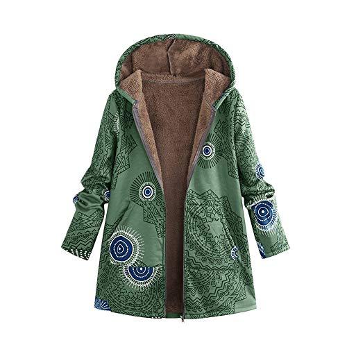 iHENGH Damen Winter Warm Dicker Outwear Parka Mantel Jacke Blumendruck mit Kapuze Taschen Vintage Oversize Coats (XL, C Grün)