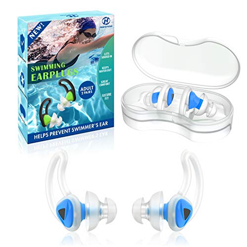 Hearprotek 2 Paires Nageur Bouchons d'Oreille, Amélioré Silicone Custom-fit Water Protection Bouchons d'Oreilles de Natation pour nageurs Piscine d'Eau DoucheBain(Bleu)