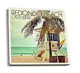 Lantern Press Redondo Beach, California, Lifeguard Shack and Palm (Set of 4 Ceramic Coasters, Cork-Backed, Absorbent)