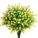 Mocoosy 8 paquetes flores artificiales plantas de exterior, resistente a los rayos UV amarillo flores falsas realista plástico flores artificiales para el hogar jardín patio casa de campo decoraciones