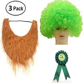 MZYARD St Patrick's Day Shamrock Beard Wig Badge Set Party Decor Decoration-3PCS