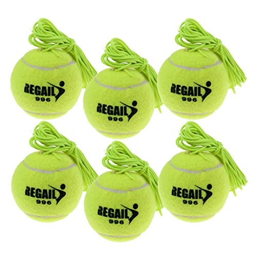 F Fityle 6pcs Tennis Trainingsball/Tennisball mit Schnur Tennistraining Zubehör