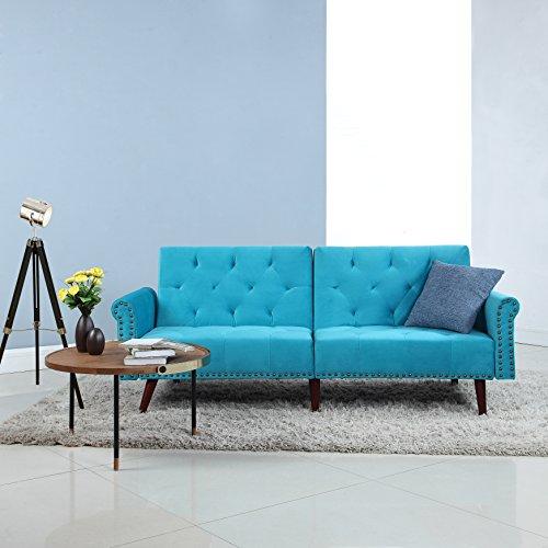 Divano Roma Furniture Modern Tufted Velvet Splitback Recliner Sleeper Futon Sofa with Nailhead Trim (Blue), Small