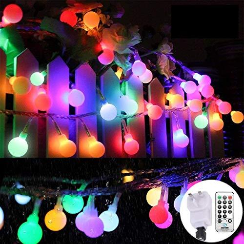 Al aire libre Luz de Navidad multicolores con alimentación de red 33 pies 100 LED luces de cadena Globo 8 modos de iluminación con el reloj programador a distancia for el dormitorio cubierta, jardín,