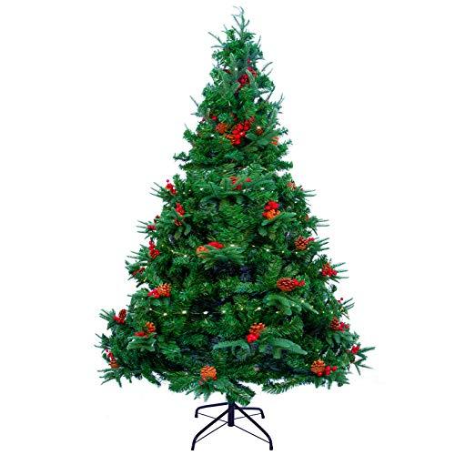 Árbol de Navidad de 6pies /1,8M con luces de cadena de 12M 200LED, árbol de Navidad artificial con agujas de pino mixtas, bayas rojas y bisagras, para decoración navideña de interiores y exteriores