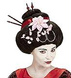 WIDMANN wdm93335?Peluca geisha con flores y baquetas, multicolor, One size
