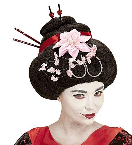 Widmann wdm93335 – pruik Geisha met bloemen en eetstokjes, meerkleurig, één maat