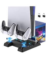 FYOUNG PS5 - Stazione di ricarica per PS5 Digital Edition/Ultra HD Console e Dual Controller, porte USB extra, 11 organizer per giochi e dock di ricarica per controller Sony PS5 DualSense