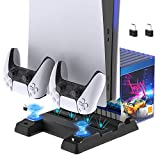 FYOUNG PS5 Stand Cooling Fan Charger Station for PS5 Digital Edition/Ultra HD Console and Dual Controllers, Extra USB Ports, 11 Game Rack Organizer and Charging Dock for Sony PS5 DualSense Controller