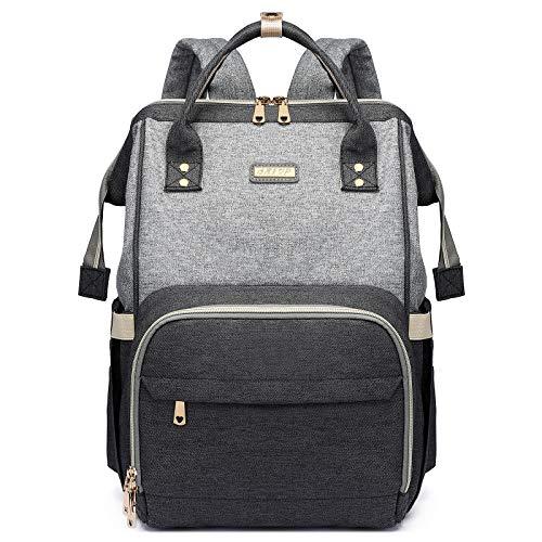 Diaper Bag Backpack,Baby Bags for Mom and Dad Maternity Diaper Bag ,Multifunction Waterproof Baby Diaper Bag Large Capacity & gray+black