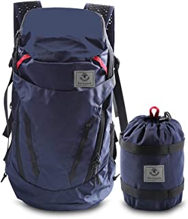 4Monster 28L Ultralight Travel Backpack Foldable Hiking Camping School Sports Packs Laptop Daypack Outdoor Casual Waterproof Bag Navy Classic Sporty Style for Men Women