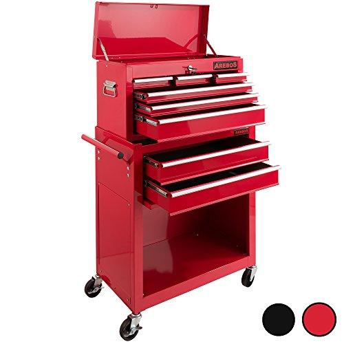 Arebos Werkstattwagen 9 Fächer/zentral abschließbar/Anti-Rutschbeschichtung/Räder mit Feststellbremse/Massives Metall/rot oder schwarz (Rot)
