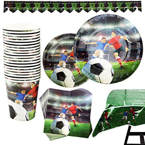 Kompanion 102-teiliges Fußball Party Set mit Banner, Tellern, Tassen, Servietten, Tischtüchern, für 25 Personen