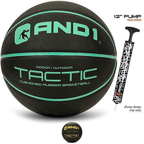 """AND1 Tactic Softech Rubber Basketball Deflated w/Pump Included: Official Regulation Size 7 295"""" Streetball Made for Indoor/Outdoor Basketball Games Black/Mint"""