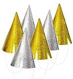 KarnevalsTeufel Silvesterhütchen 6 Stück Hut Silvester Accessoire Zwei Farben Gold & Silber