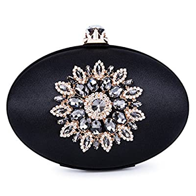 Kisschic Women's Vintage Floral Crystal Rhinestone Clutch Purse Ellipse Large Evening Bag Handbag