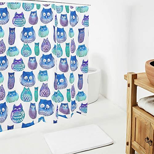 BOBONC Owl Big Eyes Bedruckt Duschvorhang Anti-Schimmel Top Qualität Vorhang Badewannenvorhang 100prozent Polyester White 150x200cm