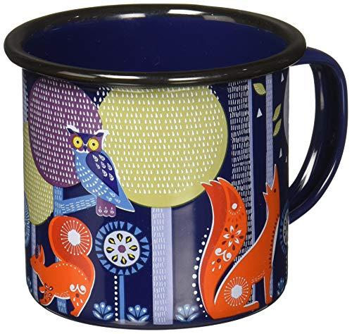 Folklore Night Design Enamel Camping Coffee Mug, 13.5 oz