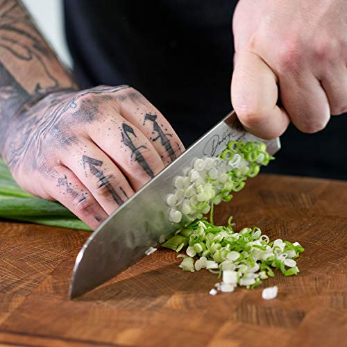 Daddy Chef Damascus Santoku Knife - Bunka bocho 7 inch Japanese VG10 67 Layer stainless steel - Kitchen Granton Edge Professional and home - Carving fillet chef's knives - Ergonomic G10 Wood Handle