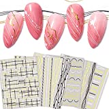 3D Strip Nail Art Sticker Luxury Self- Adhesive Curve Stripe Lines Nails Art Stickers Decals Striping Tape Lace Lines Grid Lines Smile Line DIY Foil Manicure Decoration for Women Nail Art Supplies