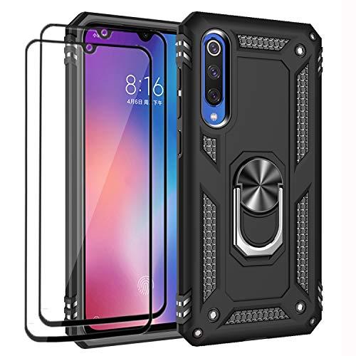XIFAN Funda + [2 Pack] Cristal Vidrio Templado para Xiaomi Mi 9 SE, [Soporte Magnético para Automóvil] Defensa Militar Probada Duro PC y TPU con pie de Apoyo, Negro
