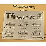 Volkswagen ZCP905045 - Placa de Aluminio con Texto en inglés T4 Since 1990, 30 x 40 cm, Color Plateado