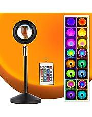 Sunset Lamp, Sunset Projectielamp, USB LED zonsonderganglamp rotatie romantische visuele sfeerlamp verlichting slaapkamer decoratie 16 kleuren