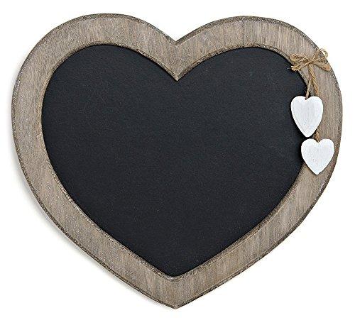 TEMPELWELT Landhaus Memotafel in Herzform zur Kreide Beschriftung, 30cm x 27cm Küchentafel Kreidetafel Herz