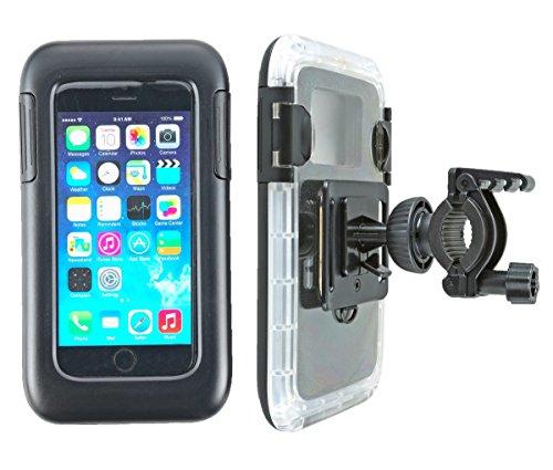 """smart2Bike® Fahrradhalterung / Motorrad-Halterung Mit Hard Case (Schutz-Tasche) Für Smartphone, Navigator, Handy, Uvm. - Display-Diagonale Universal: 4,7\"""" (bis 5,1\'\') passend zu Apple iPhone 6, 6S, Samsung Galaxy S7, J1, Microsoft Nokia Lumia 630, 640 LTE uvm. Schutzhülle Spritzwasser geschützt! Mit Sicherungsriemen, rückseitigen Gürtelschlaufen und 1/4\'\'-Gewinde!"""