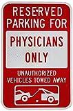 HUIOP Estacionamiento reservado para médicos solo con gráfico, diseño vintage, reglas de barra de metal estaño arte para pared señalización 20 x 30 cm