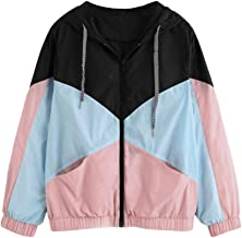 Aniywn Women Jacket Long Sleeve Color Patchwork Hooded Zipper Pockets Casual Sport Hooded Coat Blouse