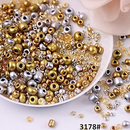 500 Unids/bolsa Multi Tamaño Mezclado Color Opaco Seedbeads Sólido Espaciador Redondo Perlas de Vidrio para Vestido de Novia Pulsera Pendiente Accesorios-Mix Oro Plata, 10g 500Pcs