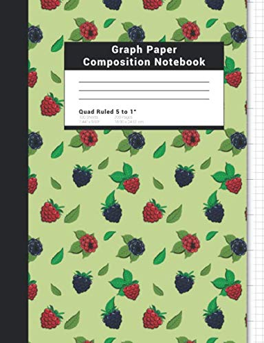 Graph Paper Composition Notebook: Quad Ruled 5 squares per inch Raspberries And Blackberries Journal For Notetaking Gift For Fruit Lovers And Students
