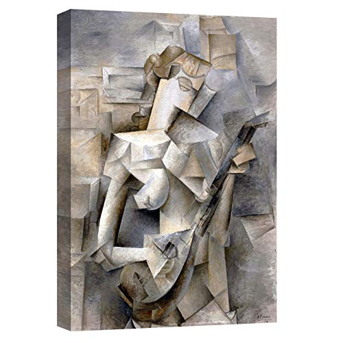 quadri moderni soggiorno verticali canvashop Quadri Moderni Soggiorno Picasso Donna Mandolino Quadro Stampa su Tela cm 70x50