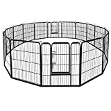 Giantex 48inch Dog Playpen with Door, 16/8 Panel Pet Playpen for Large Dogs, Portable Foldable Freestanding Dog Exercise Pens, Metal Dog Playpen Barrier Kennel Indoor & Outdoor (16 Panels, 48)