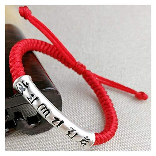 Feng Shui rijkdom armband puur zilver zes-karakter mantra rode string hand-geweven armband verstelbare unisex diamant knoop armband aantrekken geld aantrekken geld amulet, multi gekleurd AnimeFiG
