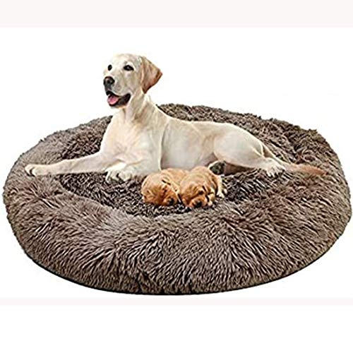 HANHAN Medium/Extra Large Donut Dog Sofa Bed Orthopedic Washable Calming XXL Wicker Sleep Basket XL 2 Older Dogs Cushion Anti Anxiety Cuddler Comfy Jumbo Plush Mattress brown