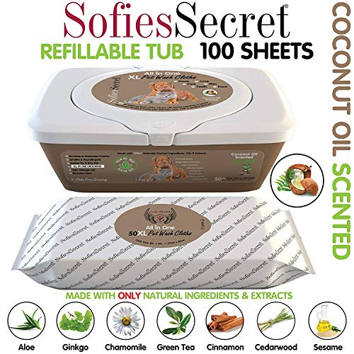 SofiesSecret XL PET Wipes, 100 XL, Coconut Oil, All in One Grooming, for Paws, Coat, Skin, Face, Ears and Teeth, Made with only Naturally derived Ingredients, Oils & Extra, Cruelty Free and Vegan