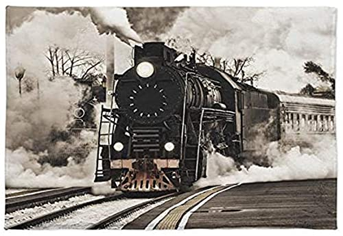 Zerbino con motore a vapore, morbido e assorbente, tappetino da bagno, stile vintage, con treno antiquariato sulla ferrovia, antiscivolo, per camera da letto, soggiorno, bagno (45 x 50 cm)