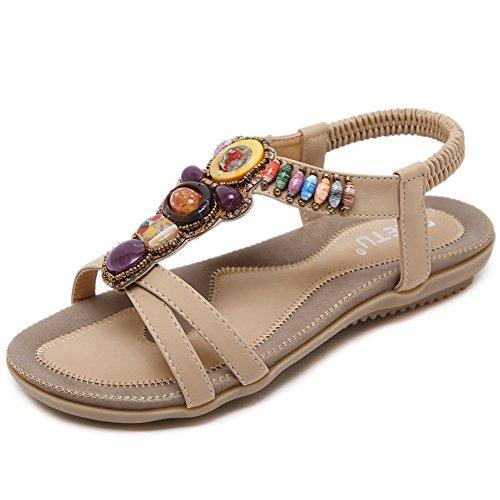 Woky Damen Bohemia Sandalen mit Strass Perlen Sommer Strand Schuhe Freizeit Flach Sandalette