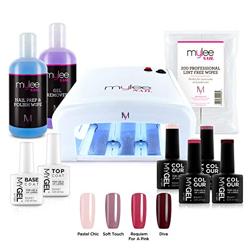 Mylee Nagellack-Starter-Set, 4 MYGEL-Farben, Top & Base Coat, UV-Lampe, Prep & Wipe, Gelentferner (EU Stecker)