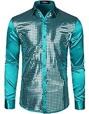 JOGAL Mens Dress Shirt Silver Sequins Long Sleeve Button Dow